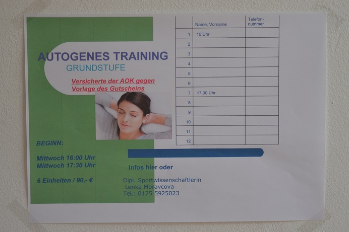 Autogenes Training in der Massagerie Leipzig